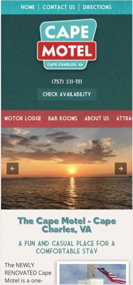 Cape Motel Mobile Design